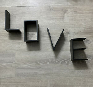 "Love Wall Shelves 7"" Letters L O V E Black"