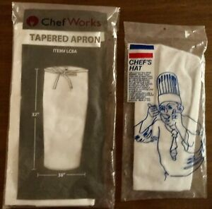 New Chef Works White Tapered Unisex Apron & Now Designs High Toque Chefs Hat