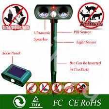 SOLAR Dual Ultra Sonic Garden Animal Scarer PIR Deterrent Cat Dog Fox Repeller