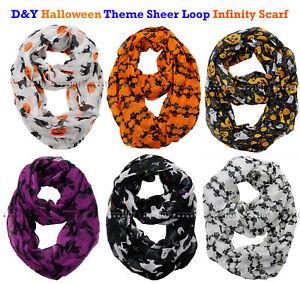 NEW! D&Y Halloween Theme Sheer Loop Infinity Scarf / Choose Your Theme!