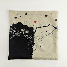Lovers Kitty Cat Throw Pillow Case Cover Square 18 x 18 Canvas Linen Cotton