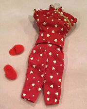 Barbie Fashion Avenue Lingerie Red with White Hearts Slippers  Displayed