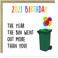 Funny Happy Lockdown 2021 Birthday Rude Comic Amusing Greetings Card Square  /T