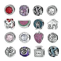 Women Silver Pave CZ Charm Beads Fit sterling 925 Necklaces & Bracelet Chain DIY