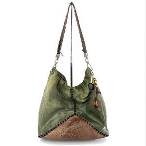 The Sak Patchwork Hobo Bag Medium Size Green Leather Croc Embossed Braided Strap