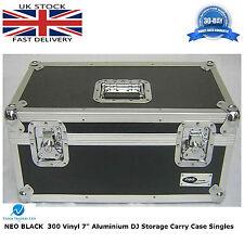 "7"" Vinyl Record Aluminium DJ Flight Storage Carry Case Black Holds 300 Tough Box"
