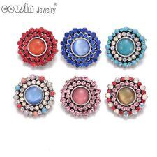6pcs/lot Colorful Round 18mm Metal Snap Button Fit Bracelet Snap Jewelry KZ0360
