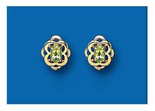 Peridoto Pendientes Celta Tachuelas Y Oro Amarillo