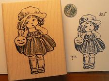 P14 Girl with pumpkin, vintage, Rubber Stamp Halloween