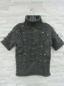 NWT Jean Paul Gaultier $595 Gray Chunky Wool Knit Mirrored Accents Sweater S