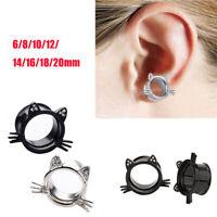 6-20mm Cat Screw Ear Flesh Tunnels Plugs Stretchers Expander Piercings Earrings