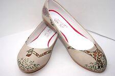 GOBY  Damen Ballerina Schuhe Gr. 40 creme Farbig MOTIVE mit asymmetrisch