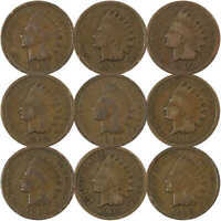 1900-1908 1c Indian Head Cent Penny 9 Coin Set Circulated