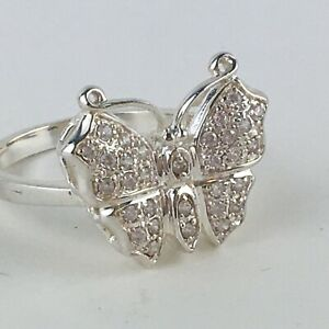 925 sterling Silver Victoria Townsend signed DBJ Pave CZ Butterfly Ring SIZE 9