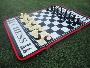 Chess Giant Game Set Includes Big Pieces And Huge Chess Board Mat Indoor Outdoor