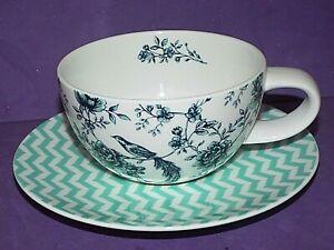 Portobello By Inspire Ruka Bone China Tea Cups & Saucers Floral Bird New.