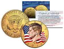 2016 WAVING FLAG JFK John F Kennedy Half Dollar US Coin 24K GOLD Plated (D-MINT)