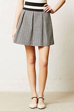 Anthropologie High Waist Skirt Pleated Patterned Summer Mini By Maeve Sz L