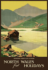 TT47 Vintage North Wales Snowdon Travel Tourism Poster Print A3 A2