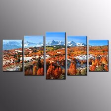FRAMED Wall Art for Kitchen Decor Hillside Stretched Canvas Painting Print-5pcs