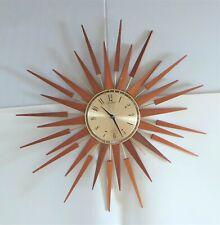 More details for vintage seth thomas teak sunburst / starburst clock - working order a/f