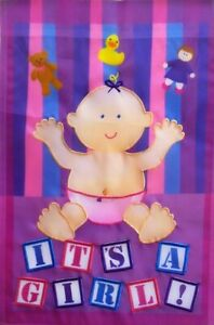 It's a GIRL Birth Announcement Standard House Flag by Premier Designs #2798