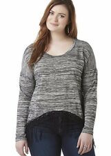 New Bongo Womens Plus Size 1X 18/20 Fringe Shirt Gray Black Crochet Long Sleeve