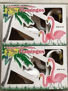 Blow Mold Vintage White Flamingos Snow Mingo Featherstone Lot Of 2  Pairs