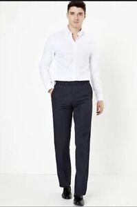 Marks & Spencer M&S Regular Fit Dinner Trousers Navy W- 38 36 42 40 32 44