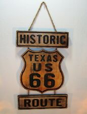 Historic Texas US Route 66 Engraved Wood Sign Wall Hanging
