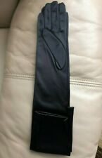 Black Arm-Length Dress Gloves Vtg Satin-y NylonSpandex S-M Holiday Cosplay New