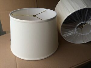 "Pair Contemporary Style Fabric Drum Lamp shade 15"" w x 10"" ht  Cream"
