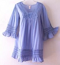 NEW~Periwinkle Blue Crochet Lace Peasant Blouse Tunic Boho Top~8/10/M/Medium