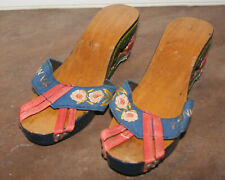 Vintage Philippine Carved Painted Wood Shoes Sandals