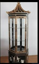 More details for large chinese black lacquered pagoda display cabinet