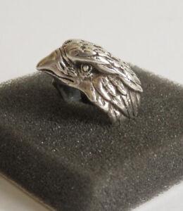Herren Ring mit Adlerkopf 925 Silber 13,6 gr  Biker Rocker 18 /57 Vintage