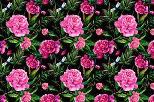 Sommersweat Pfingstrosen / Kombistoff  Sweat Floral Blumen Stoff