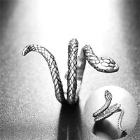 Vintage Antique Silver Plated Ring WomenJewelry Men Retro Alloy Snake Open BDAU