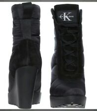 CALVIN KLEIN JEANS Black Sullen Quilted Wedge Boots **Size 7** New with Box
