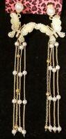 Betsey Johnson Enamel Crystal Butterfly Pearl Tassel Earbob Dangle Earrings