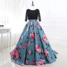 Evening Dress with Floral Print, Ball Gown Style with sleeves
