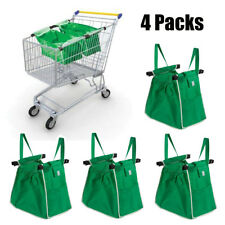 4 X Reusable Foldable Shopping Eco Grocery Fabric Tote Bags Clip-To-Cart Trolley