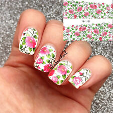 2 Sheets Nail Water Decals Red Flower Green Leaf Nail Art Transfer Stickers Tips