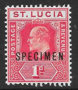 St Lucia 1907 1d. Carmine with Specimen Overprint SG 67s
