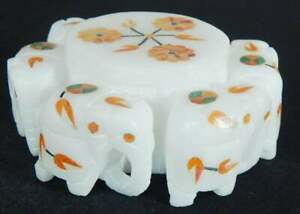 White Marble Inlay Box With Floral Design From Handmade Crafts For Bangles