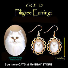Persian White Longhair Cat - Gold Filigree Earrings Jewelry