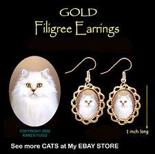 Persian White Longhair Cat - Gold Filigree Earrings Jewelry