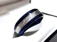 Meteorite Ring, Blue Meteorite Ring, Men Women Wedding Bands, Blue Tungsten Ring