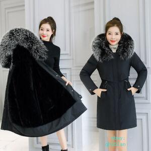 Womens Faux Fur Collar Coat Warm Winter Jacket Padded Classic Parka Outwear Top
