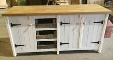 Long Rustic Solid Pine Freestanding Kitchen Unit Cupboards And Trays Oak Top
